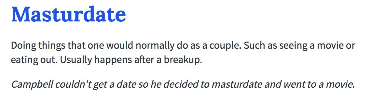 Masturdating definition